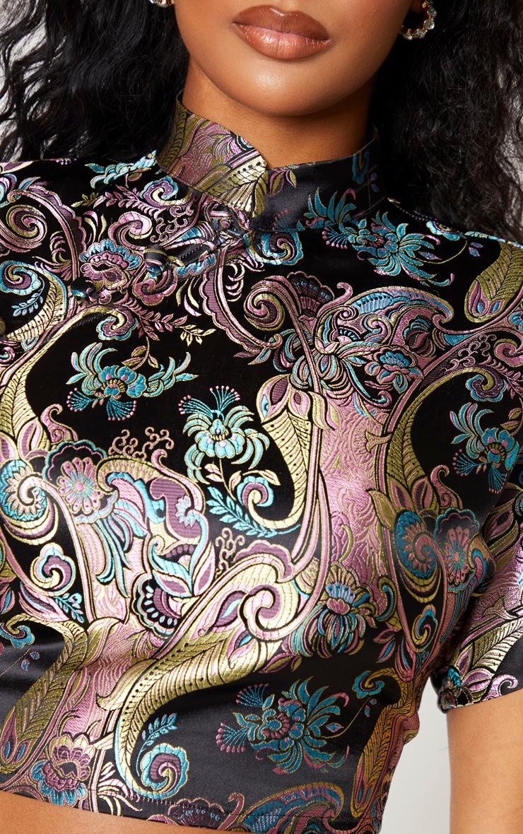Shape Black Oriental Collar Detail Crop Top 5