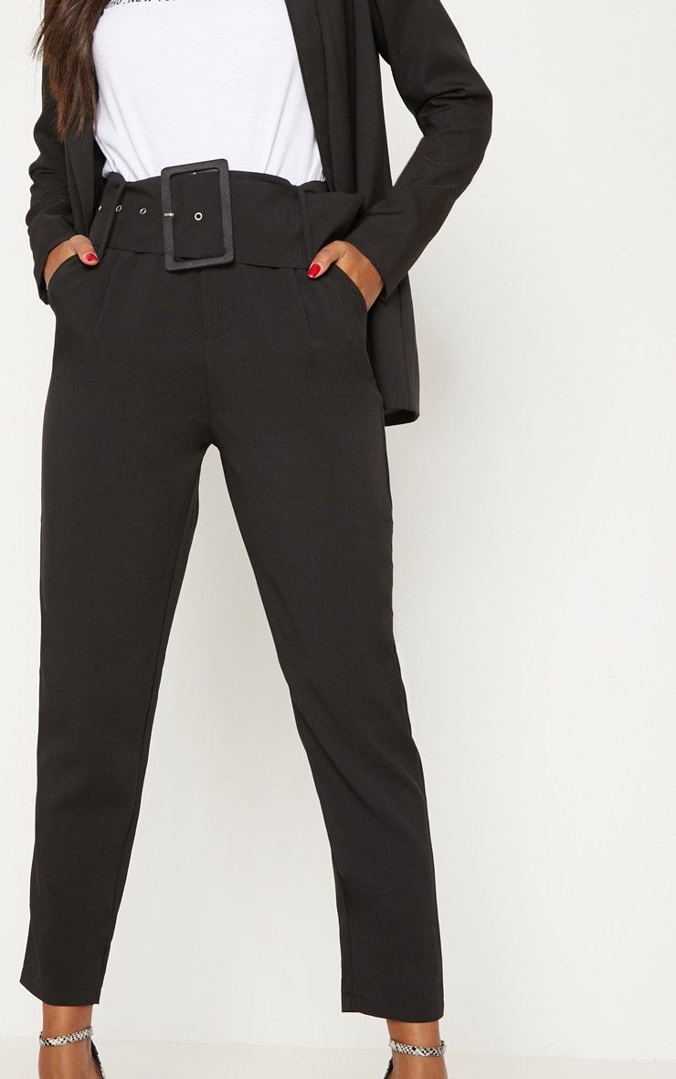 Black Super High Waisted Belted Tapered Pants 5