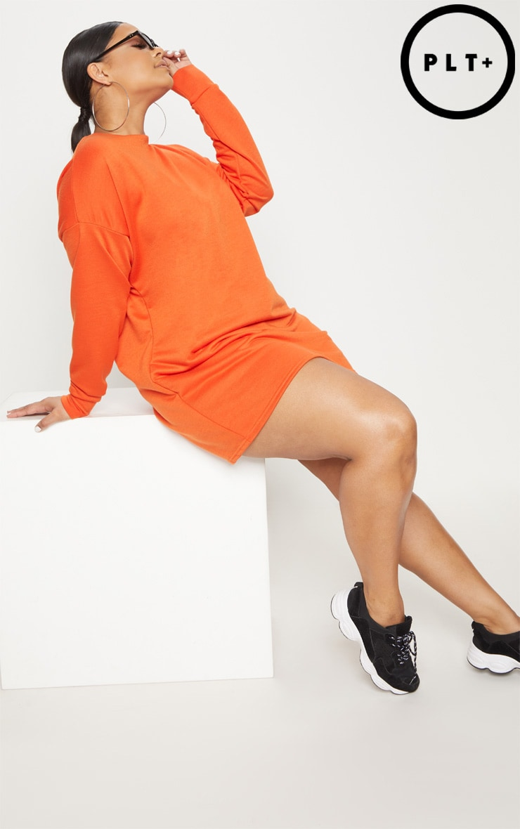 Plus Orange Oversized Sweater Dress 1