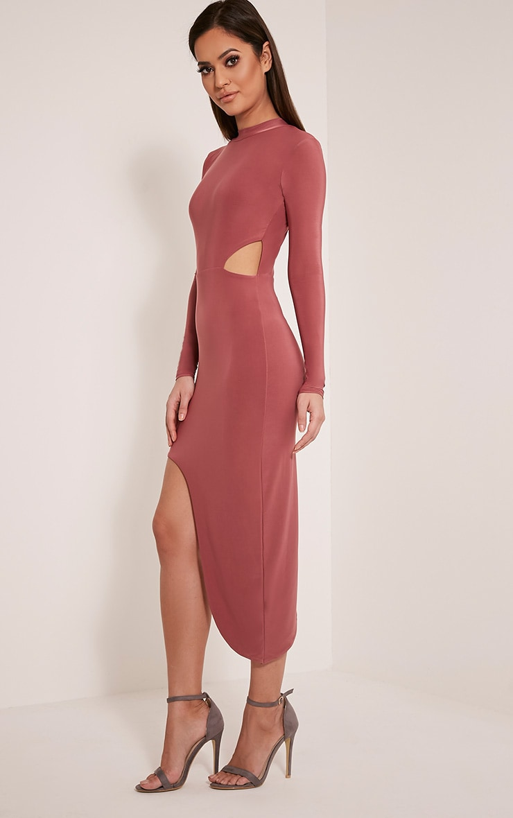 Avia Rose Cut Out Asymmetric Midi Dress 4
