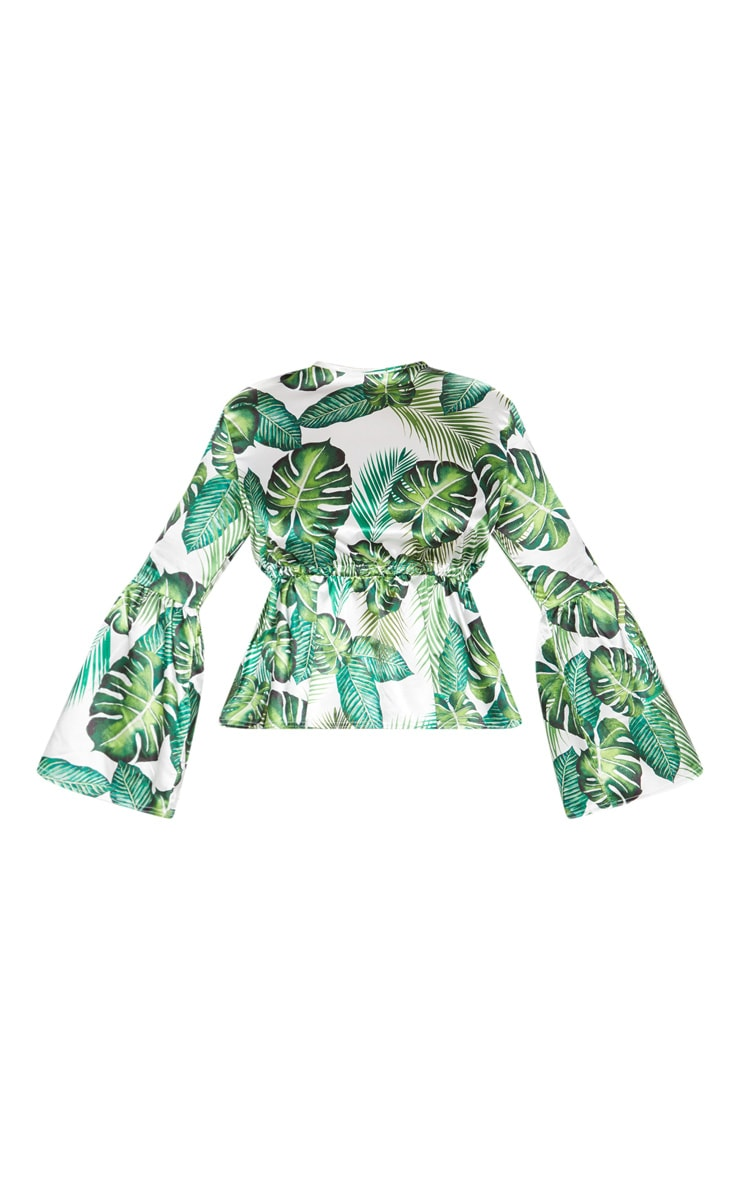 Plus Green Palm Print Satin Tie Detail Frill Blouse 3