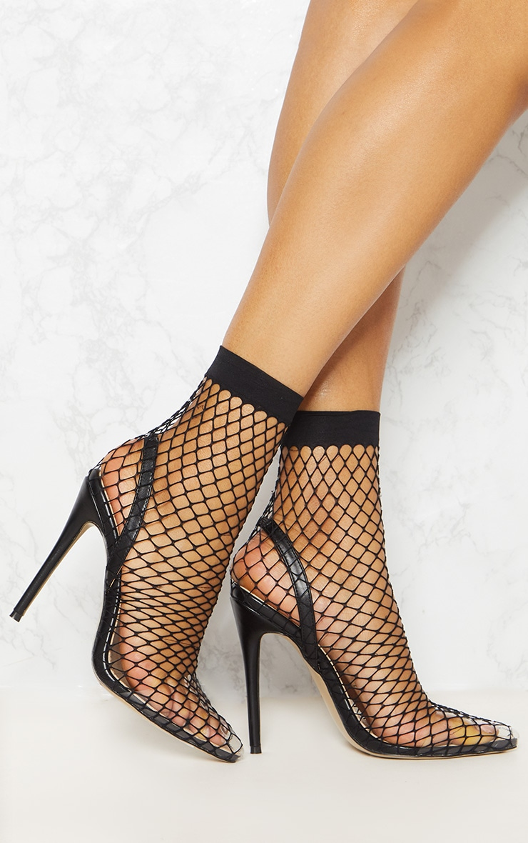 Black Fishnet Slingback Pointed Toe Heels 1