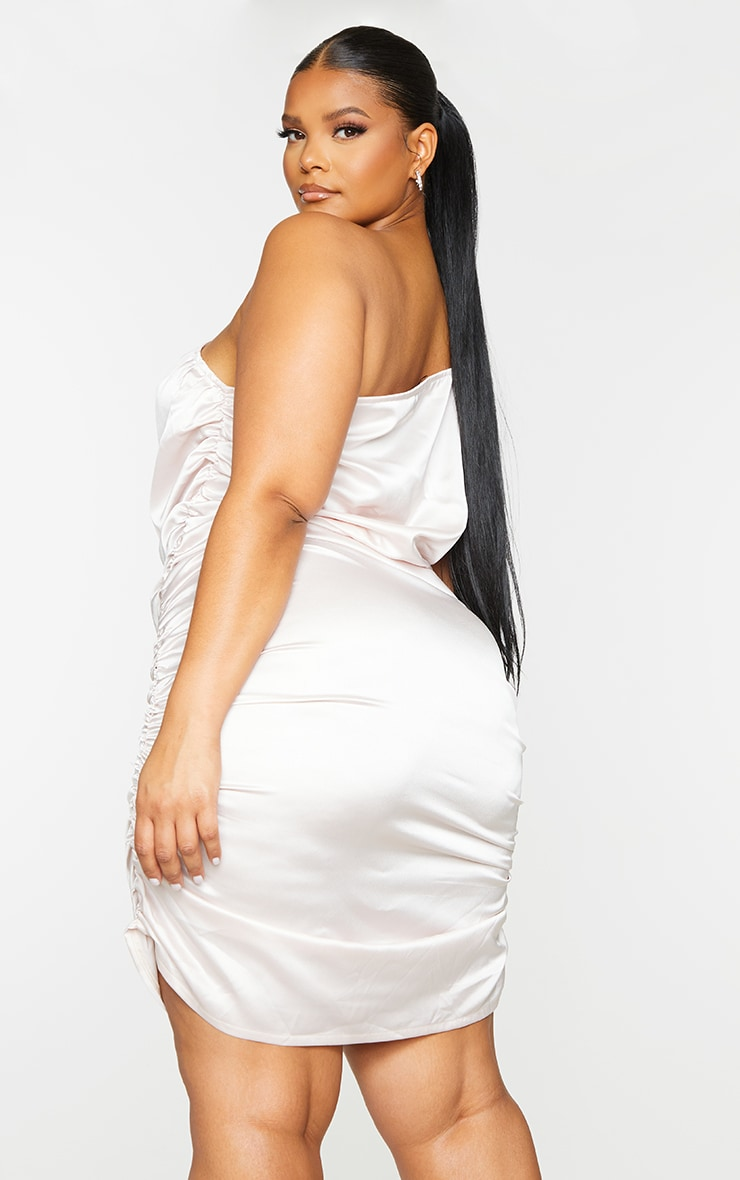 Plus Baby Pink Satin Asymmetric Bodycon Dress 2