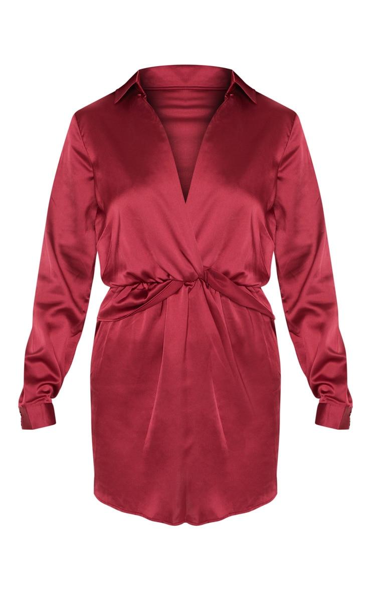 Katalea Burgundy Twist Front Silky Shirt Dress 3