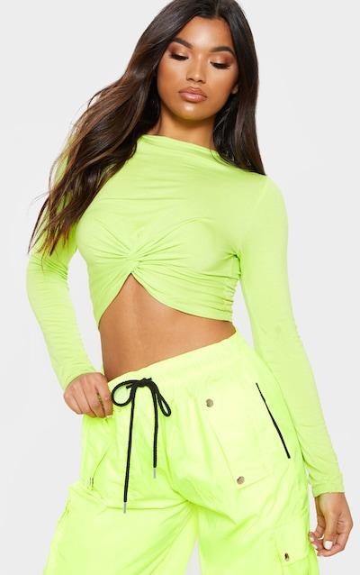 42cd37b10c1596 Neon Lime Long Sleeve Knot Hem Crop Top