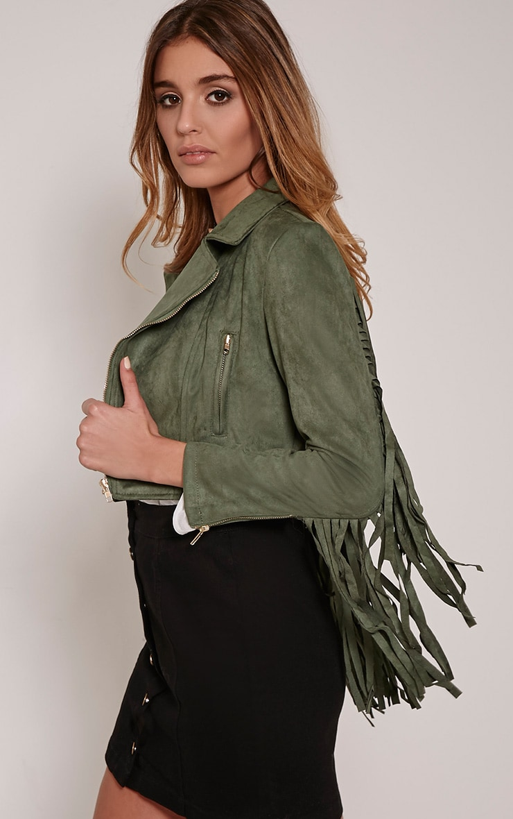 Harriet Khaki Faux Suede Biker Jacket 3