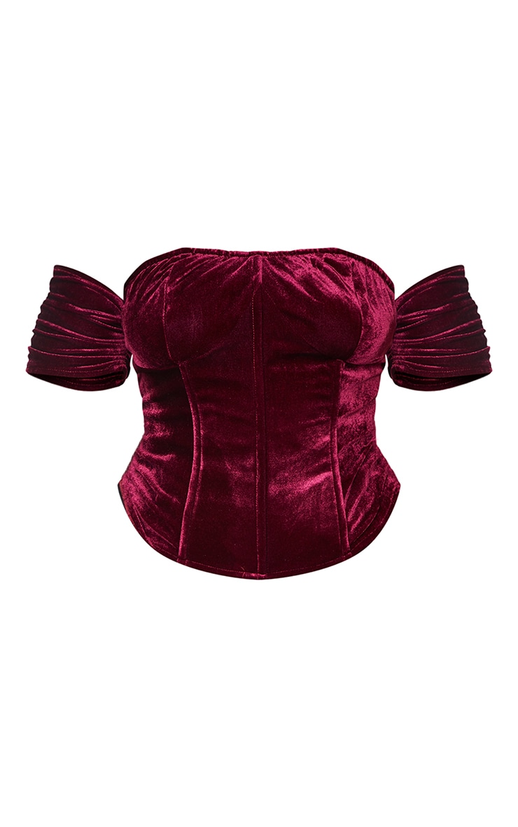 Plus Burgundy Velvet Lace Up Back Corset 5