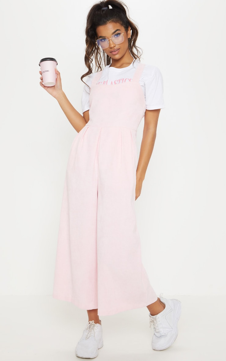 Baby Pink Corduroy Wide Leg Culotte Jumpsuit