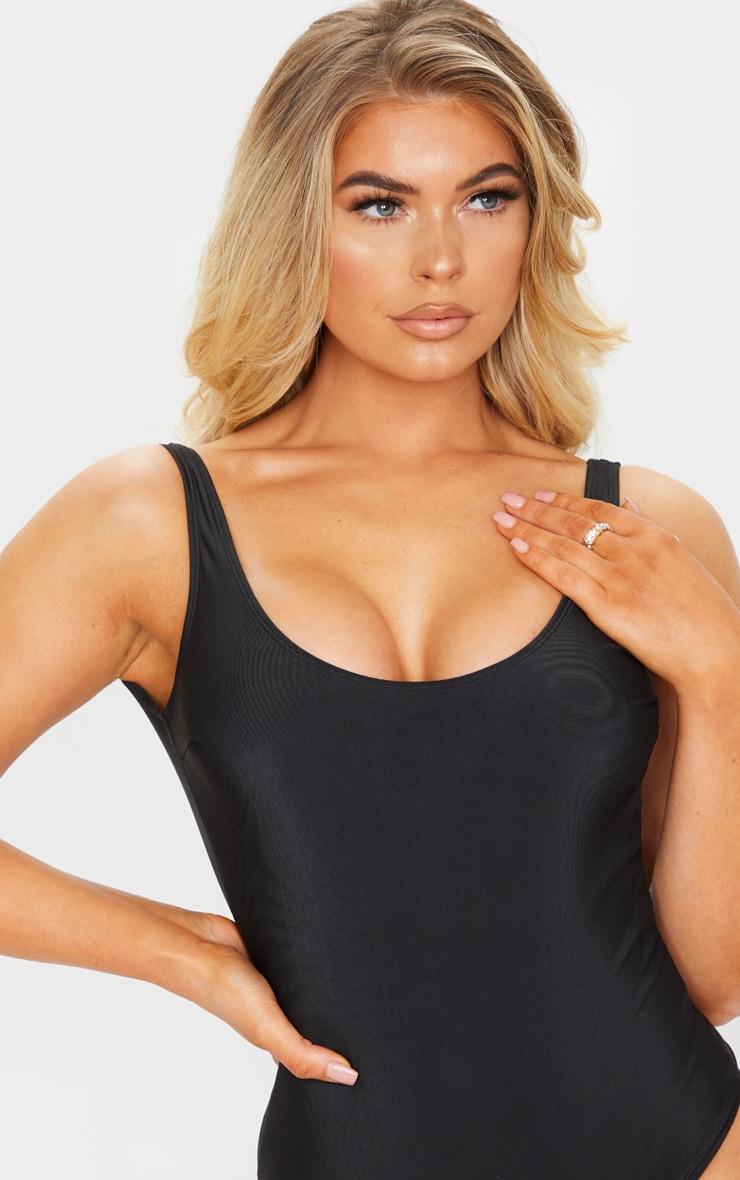 Black Basic Scoop Swimsuit 4