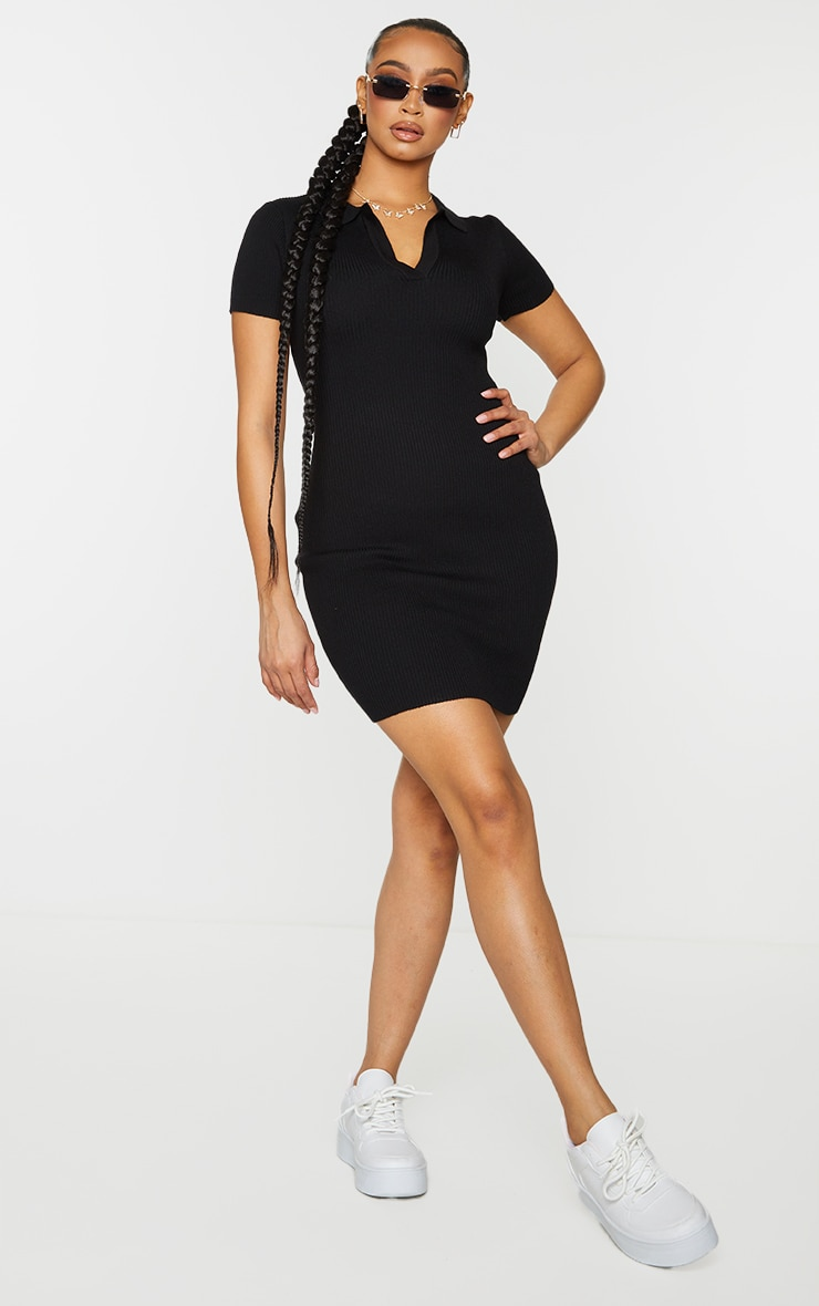Black Ribbed Bodycon Mini Collared Knitted Dress 3
