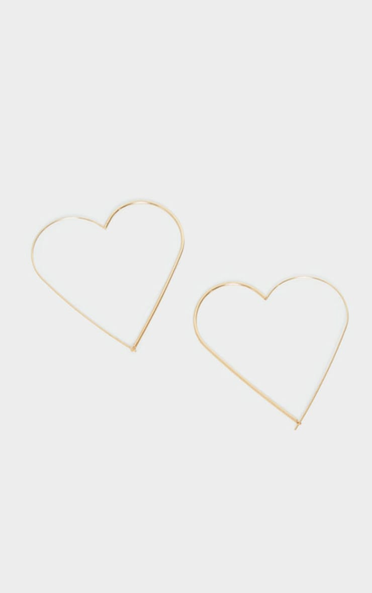 Gold Heart Oversized Hoop Earrings 2