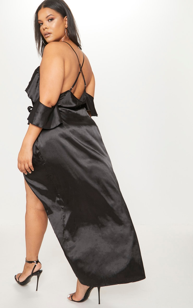 Plus Black Satin Frill Detail Wrap Maxi Dress 2