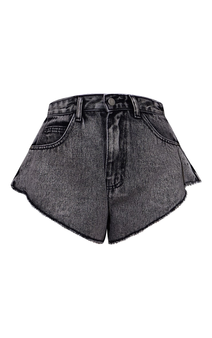 Washed Black Raw Hem Hotpants 6