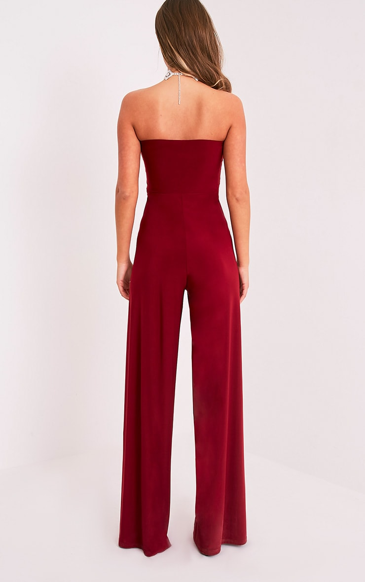 Tori Burgundy Front Thigh High Split Slinky Bandeau Jumpsuit 2