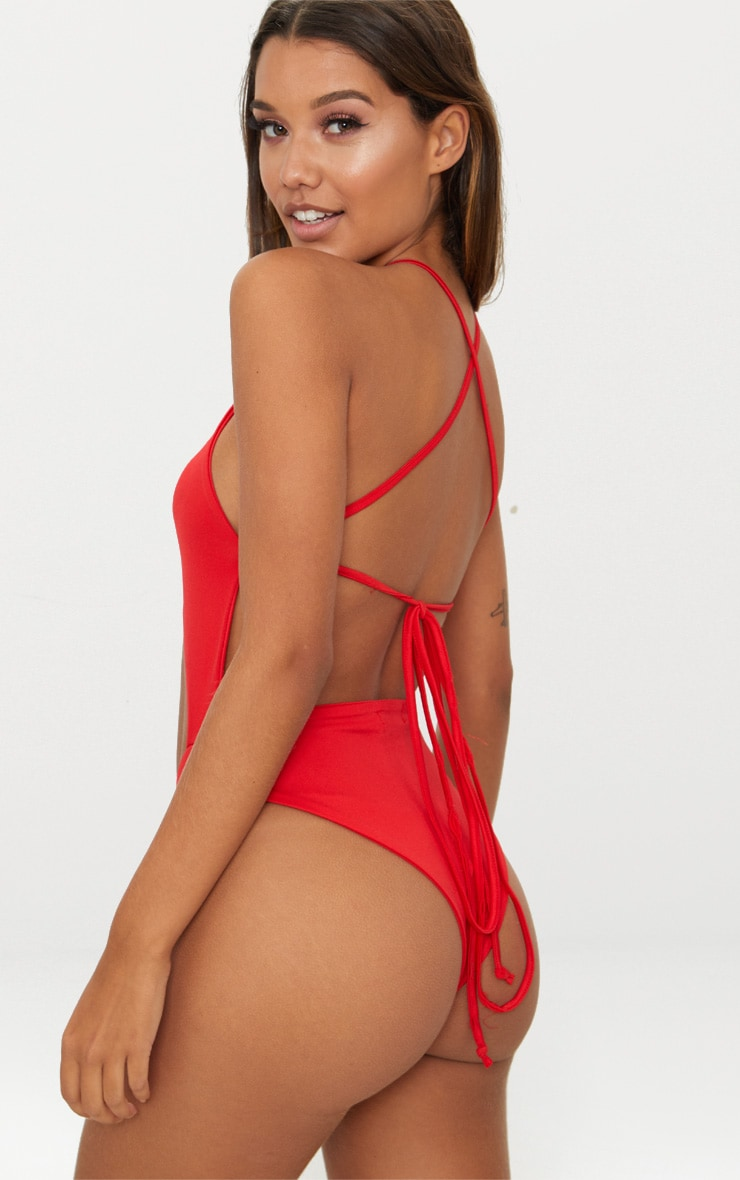Red High Rise Wrap Around Swimsuit 2