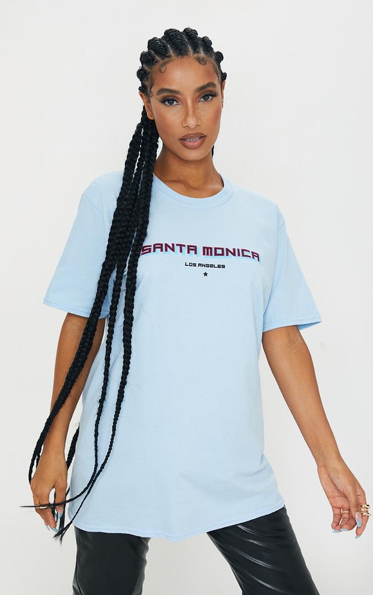 Baby Blue Santa Monica Printed T Shirt 1