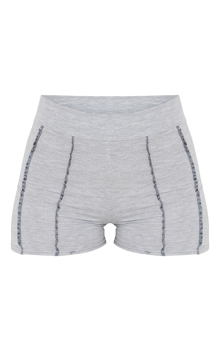 Grey Cotton Seam Detail Hot Pants 6