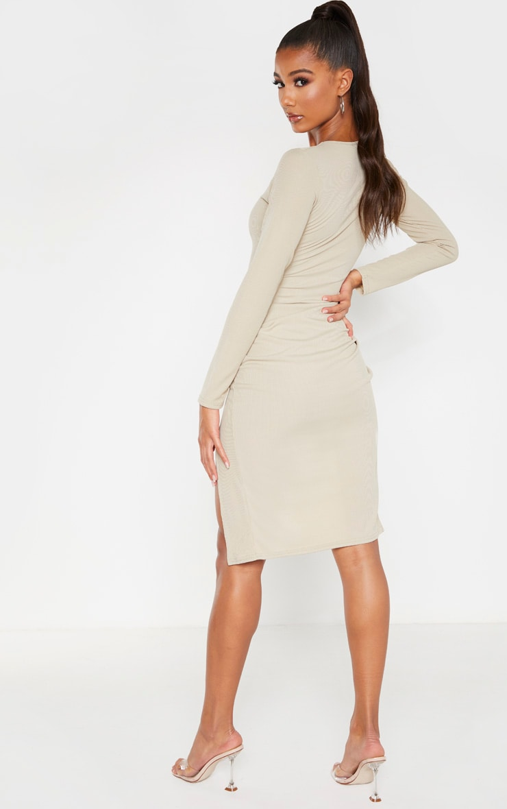 Biscuit Rib Long Sleeve Split Front Midi Dress 2