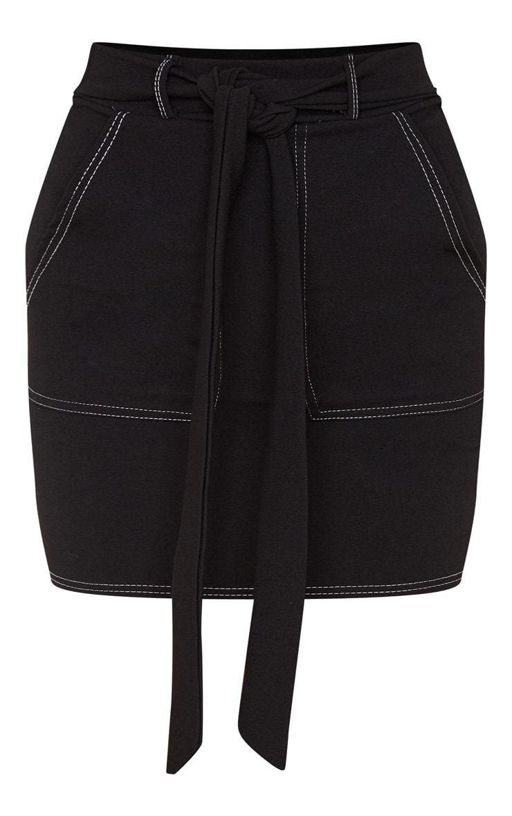 Black Contrast Stitch Tie Waist Mini Skirt 3