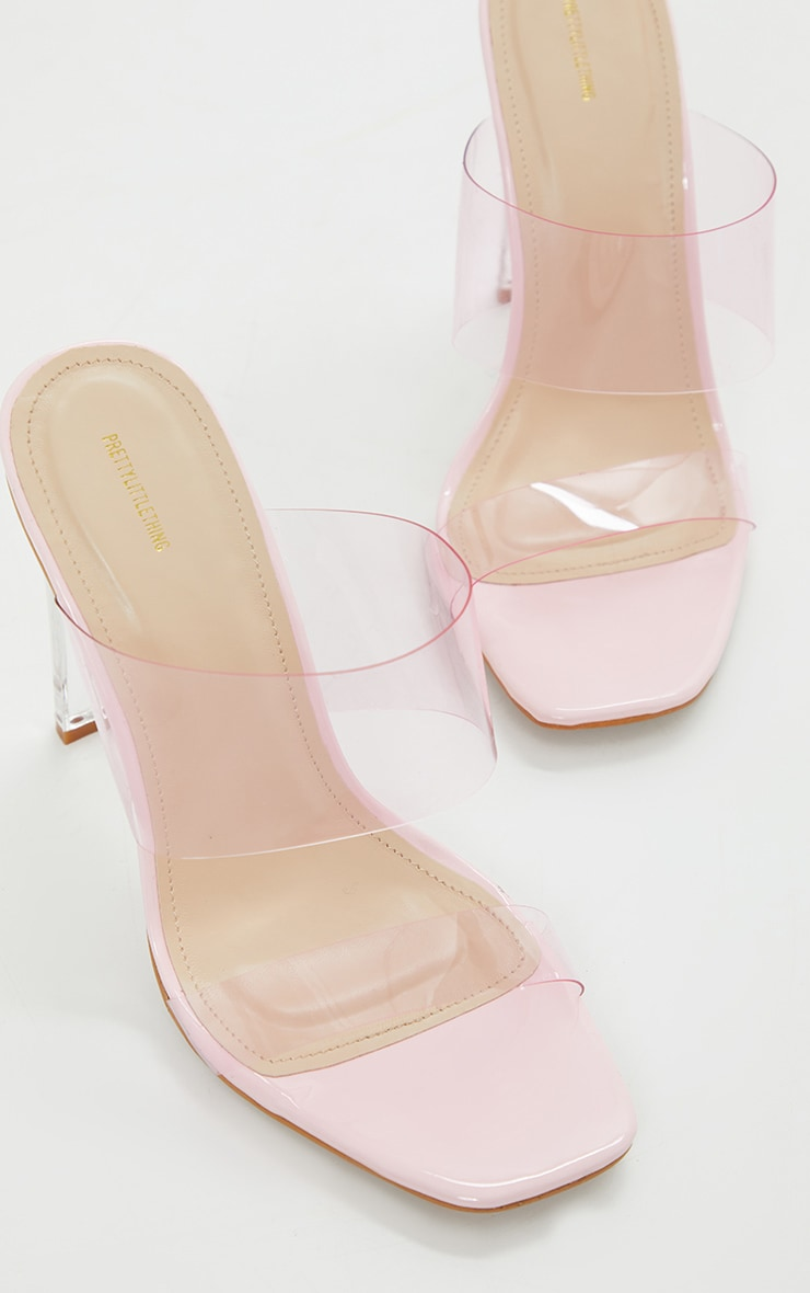Pink Wide Fit Tinted Clear Twin Strap Mule Heels 4