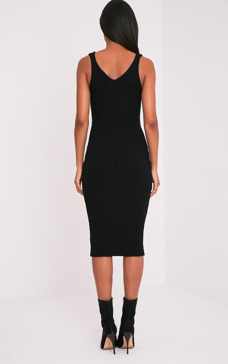 Nimah robe midi débardeur tricotée côtelée noire 3