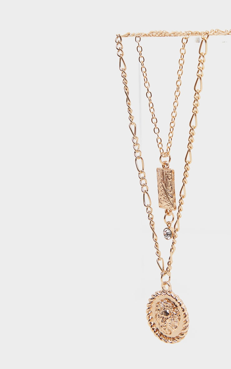 Gold Diamante Drop Lions Head Double Layering Necklace 3