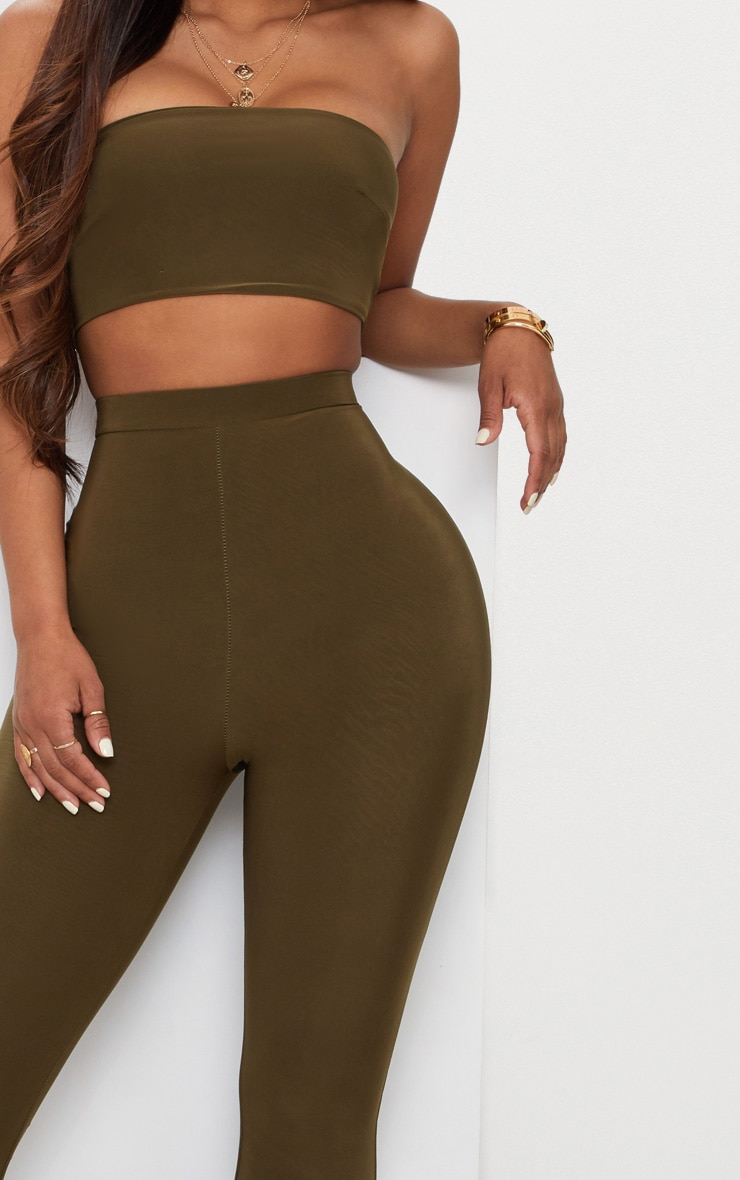 Shape Khaki Slinky Flared Trousers 5