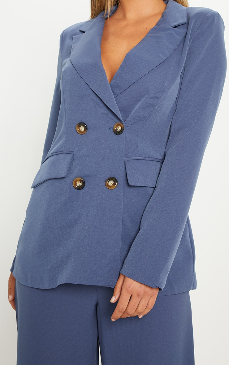 Blue Oversized Button Detail Woven Blazer 5