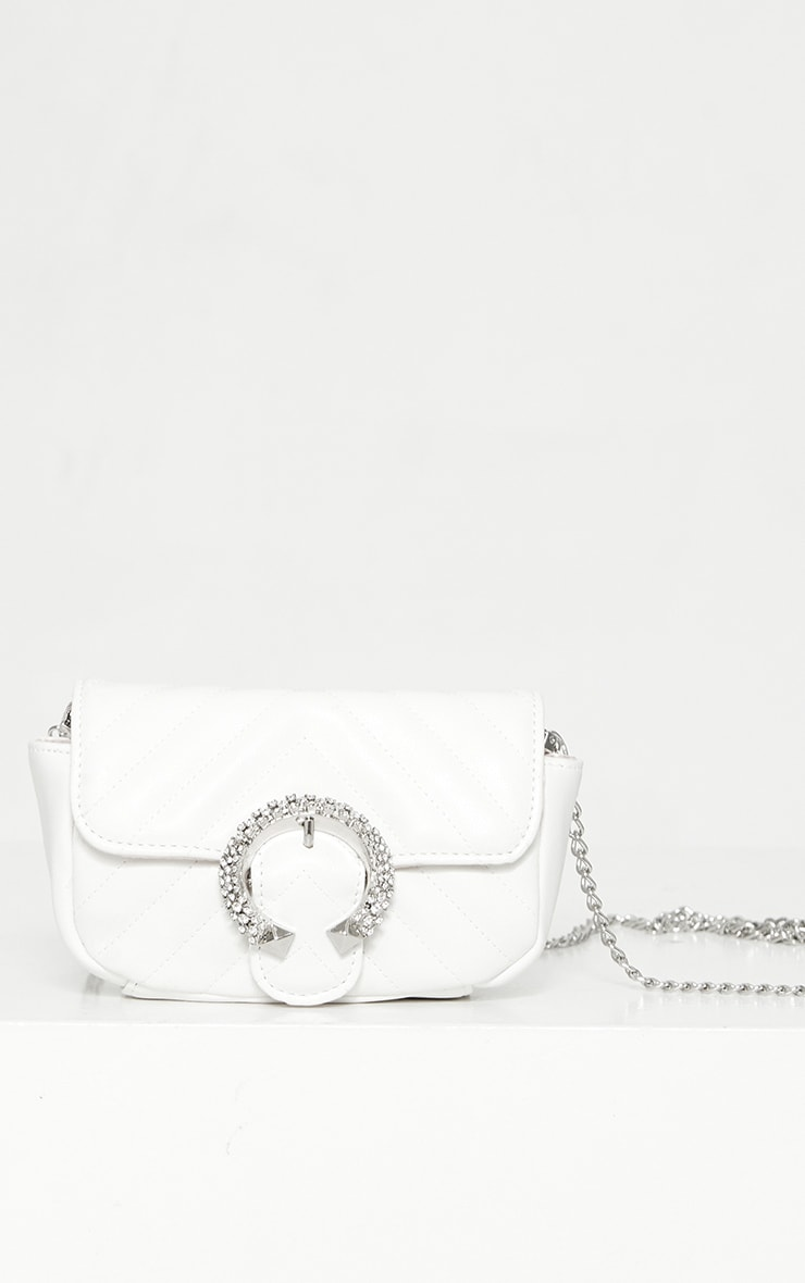 White Quilted Diamante Rounded Buckle Detail Cross Body Bag 1