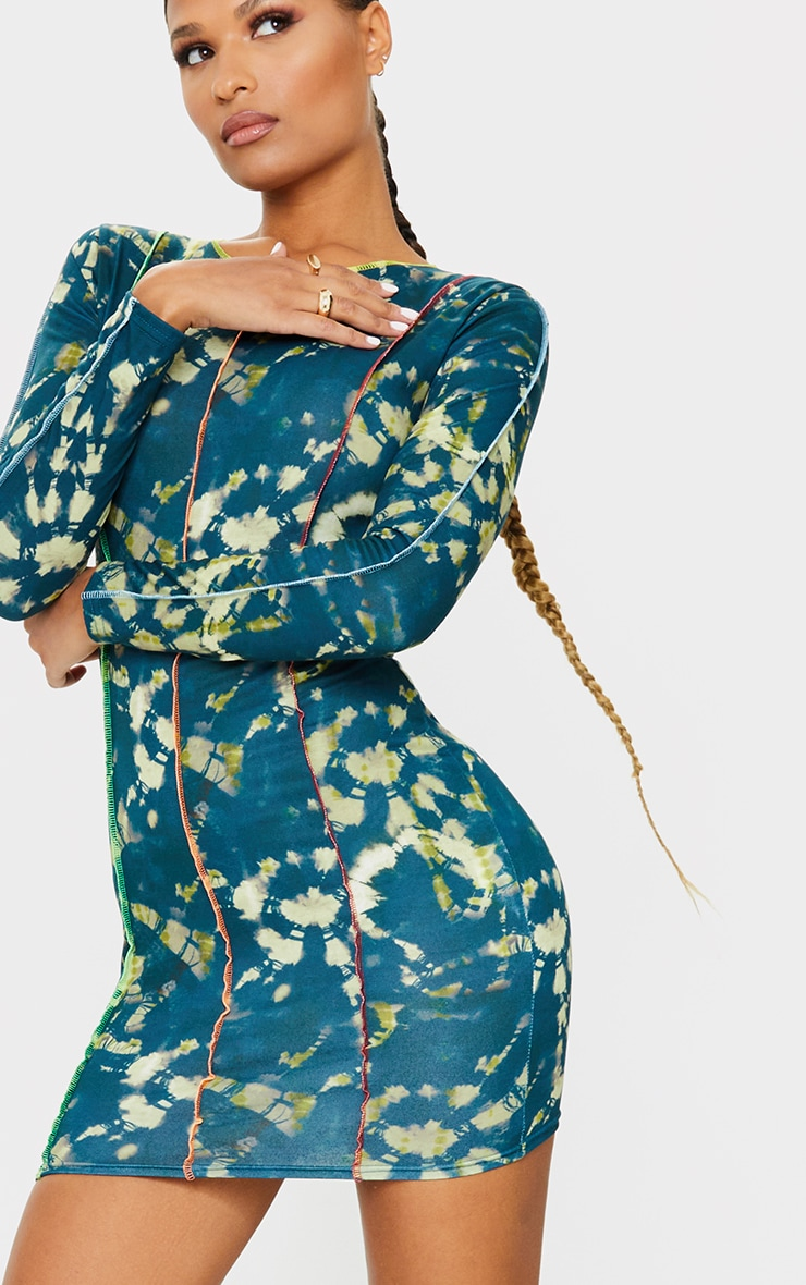 Multi Long Sleeve Multi Stitch Detail Bodycon Dress 4