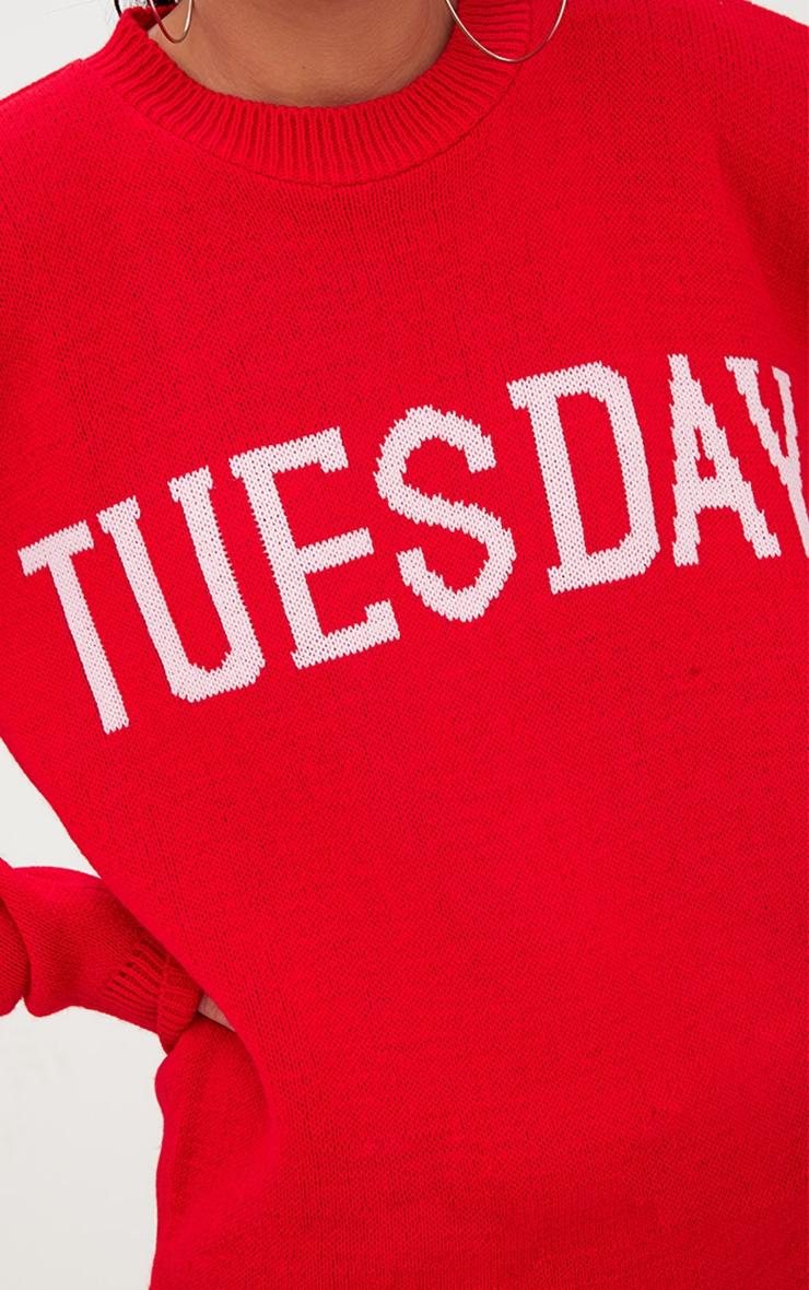 Red Tuesday Slogan Jumper 5