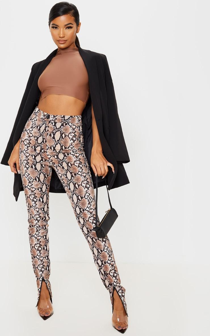 Snake Zip Hem Woven Skinny Pants 1