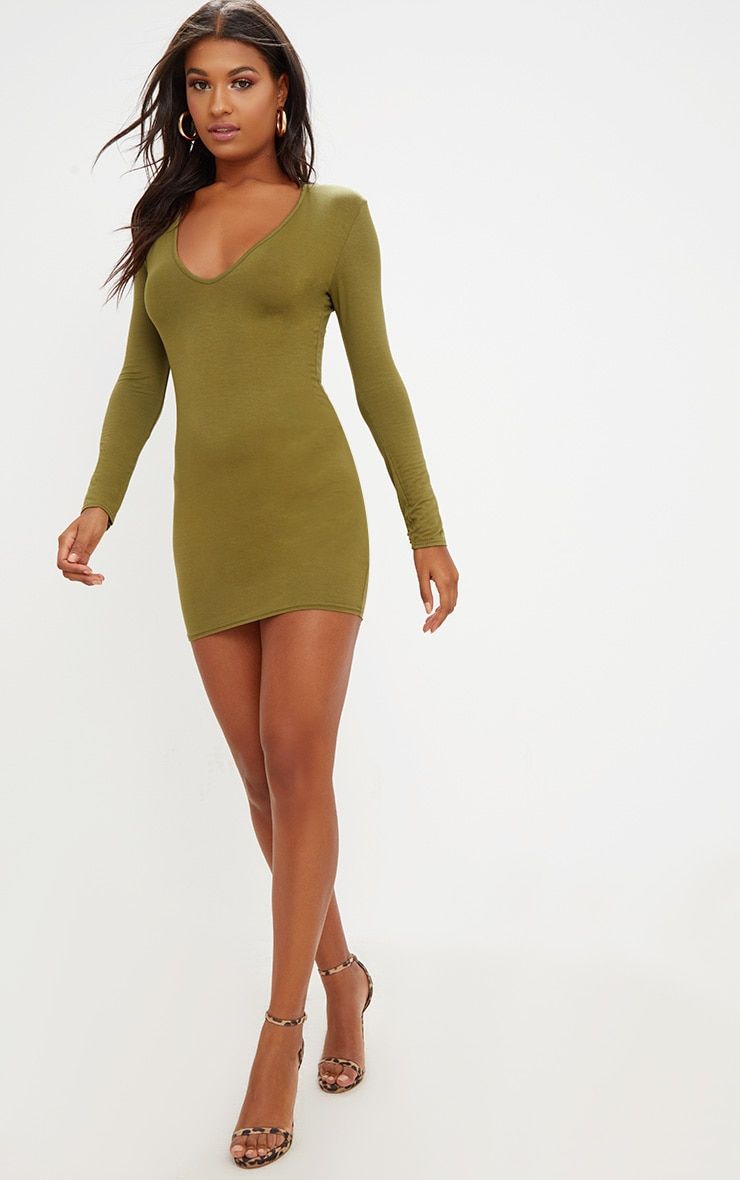 Olive Green Jersey  Extreme Plunge Long Sleeve Bodycon Dress 4