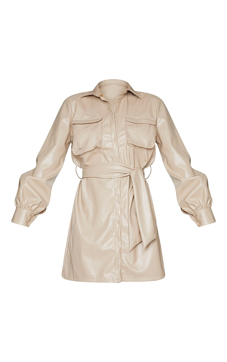 Stone Faux Leather Pocket Detail Shirt Dress 5