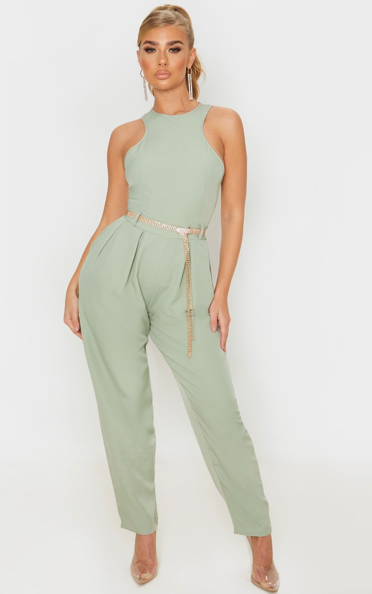 Sage Green Racer Back Pocket Detail Jumpsuit 1