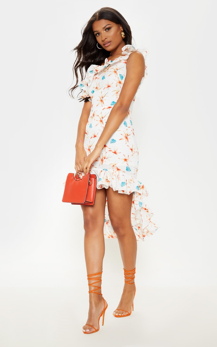 White Floral Print One Shoulder Midi Dress 4