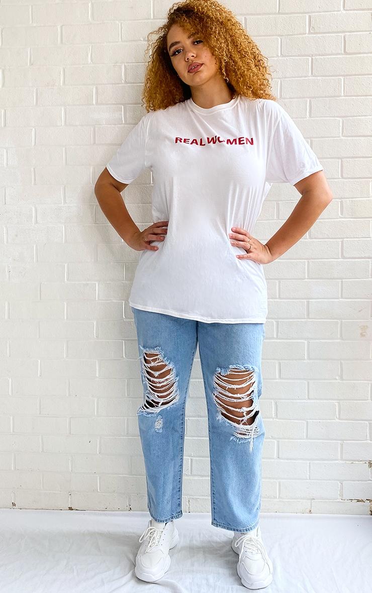 Plus White Real Women Slogan T-Shirt 3