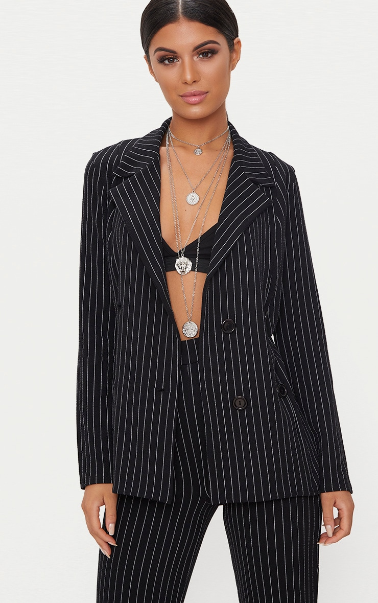 Black Pinstripe Double Breasted Blazer 1