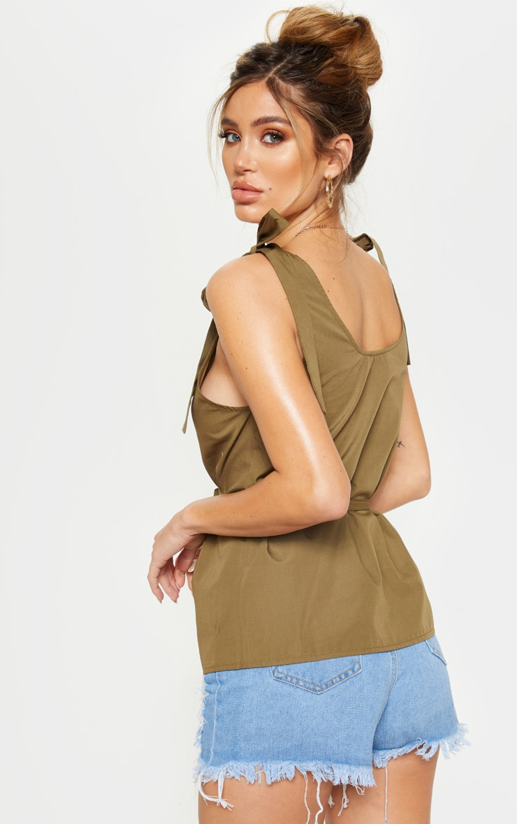 Khaki Sleeveless Belted Button Front Top 2