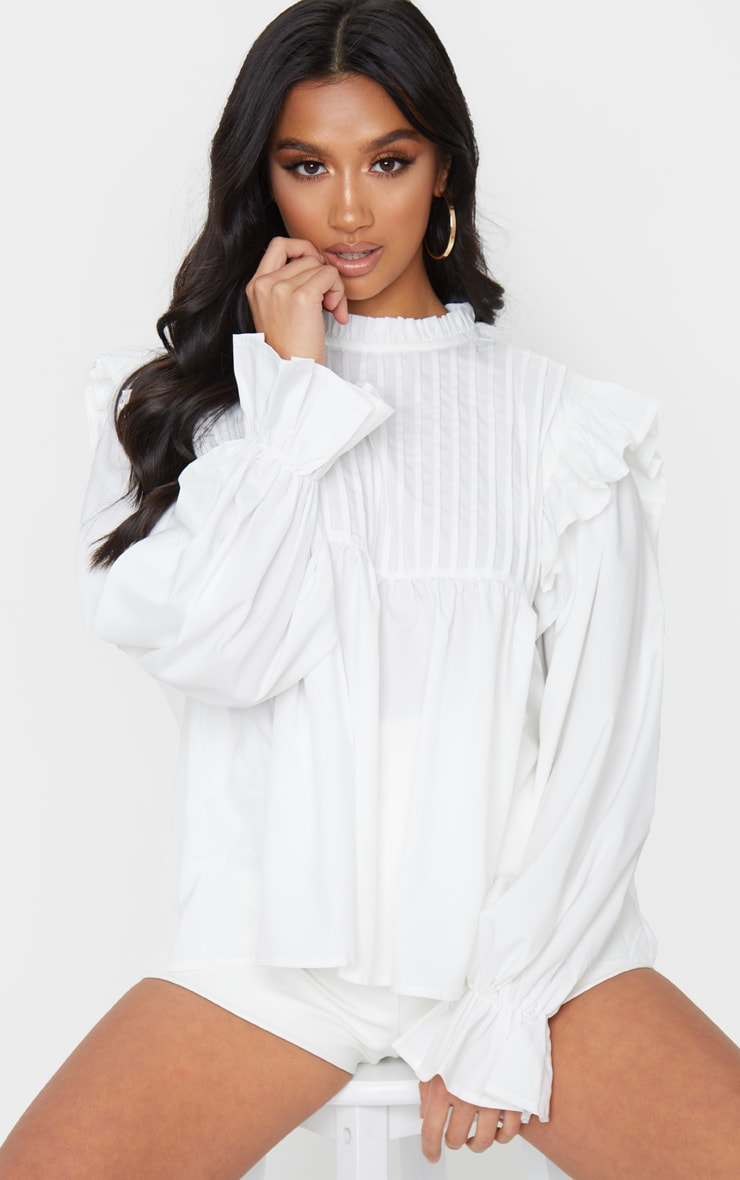 Petite Cream Frill Detail Long Sleeve Blouse 1