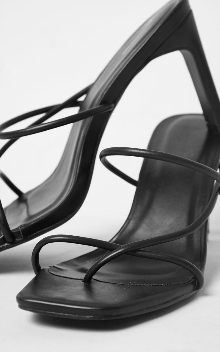 Black Triple Strap Toe Thong Flat Heel Square Toe Mules image 3