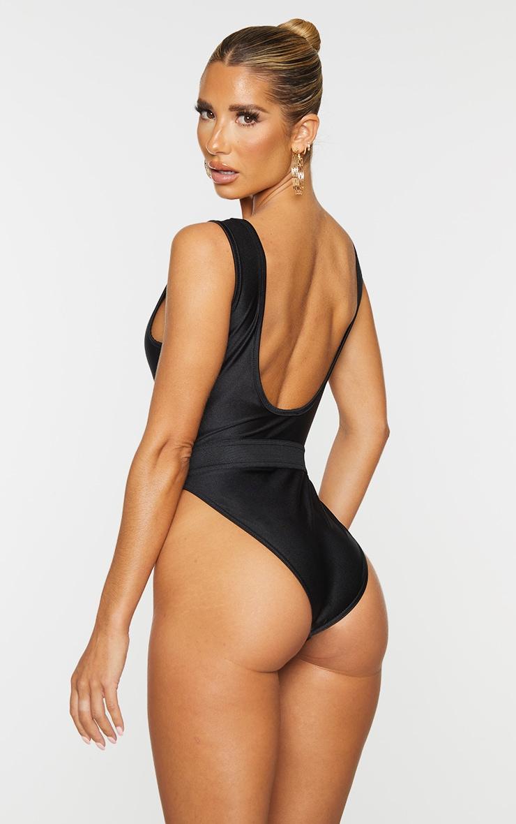 Black  Elastic Waist High Leg Swimsuit 2