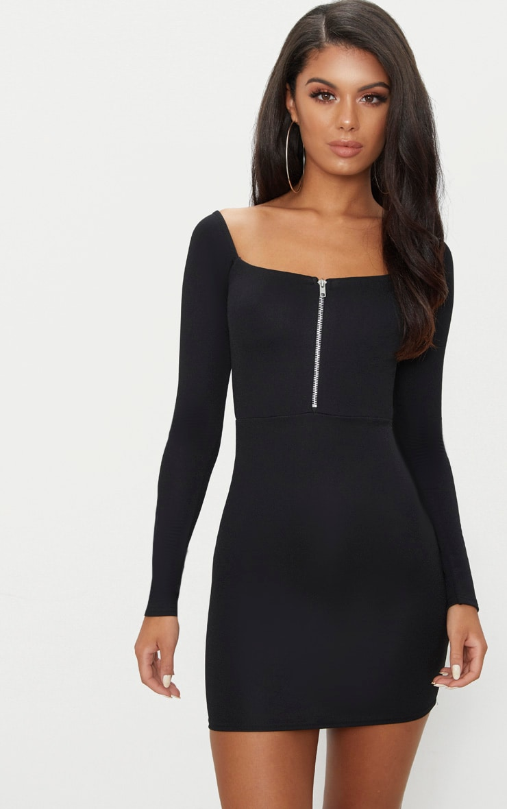 Black Zip Detail Square Neck Bodycon Dress 1