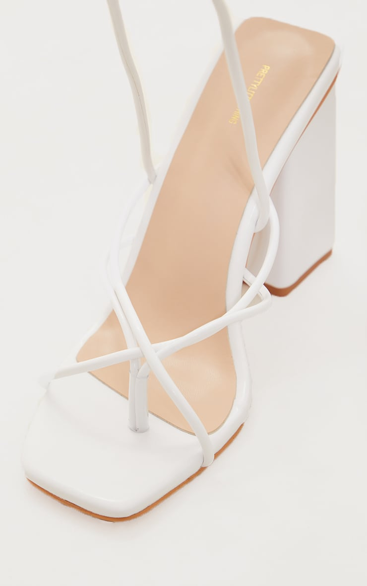 White PU Toe Loop Lace Up Chunky Block Heeled Sandals 4
