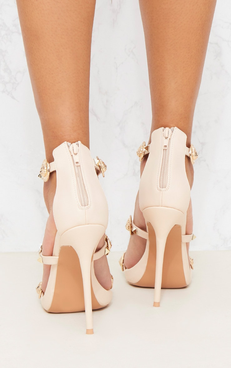 Nude Coin And Stud Triple Strap Sandal 4