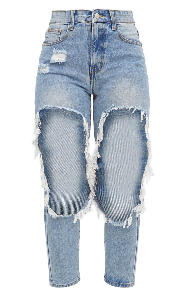 Light Wash Extreme Open Thigh Straight Leg Jean 3