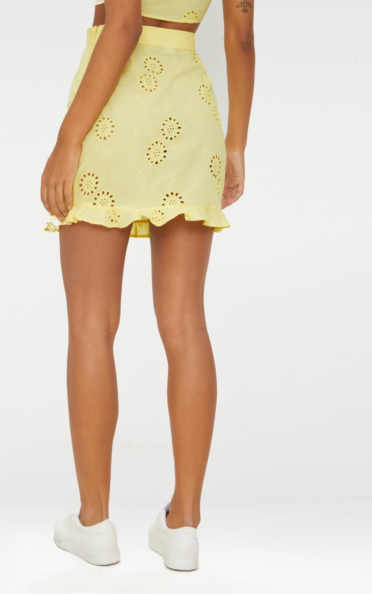 Lemon Embroidered Frill Hem Mini Skirt 3