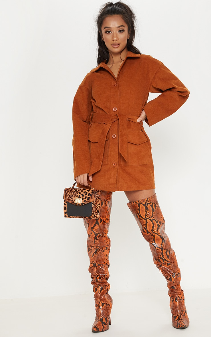 Petite Rust Cord Button Front Belted Shirt Dress 1