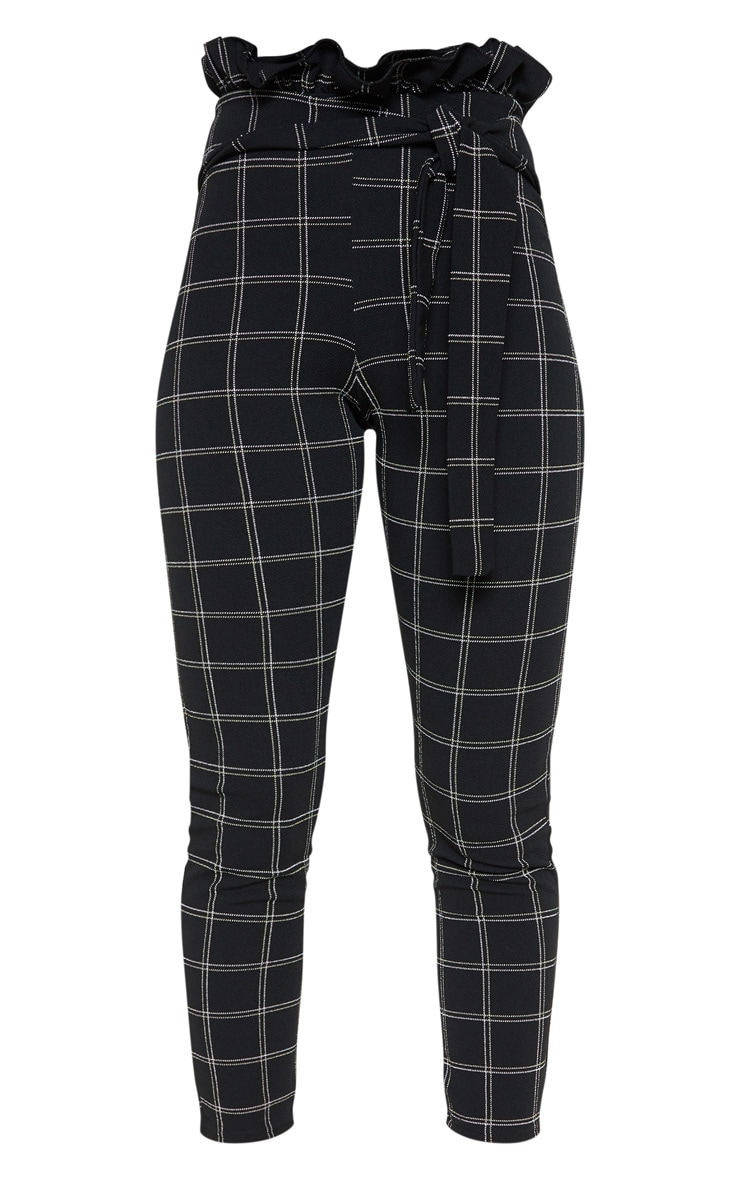 Black Tweed Check Paperbag Skinny Pants 3