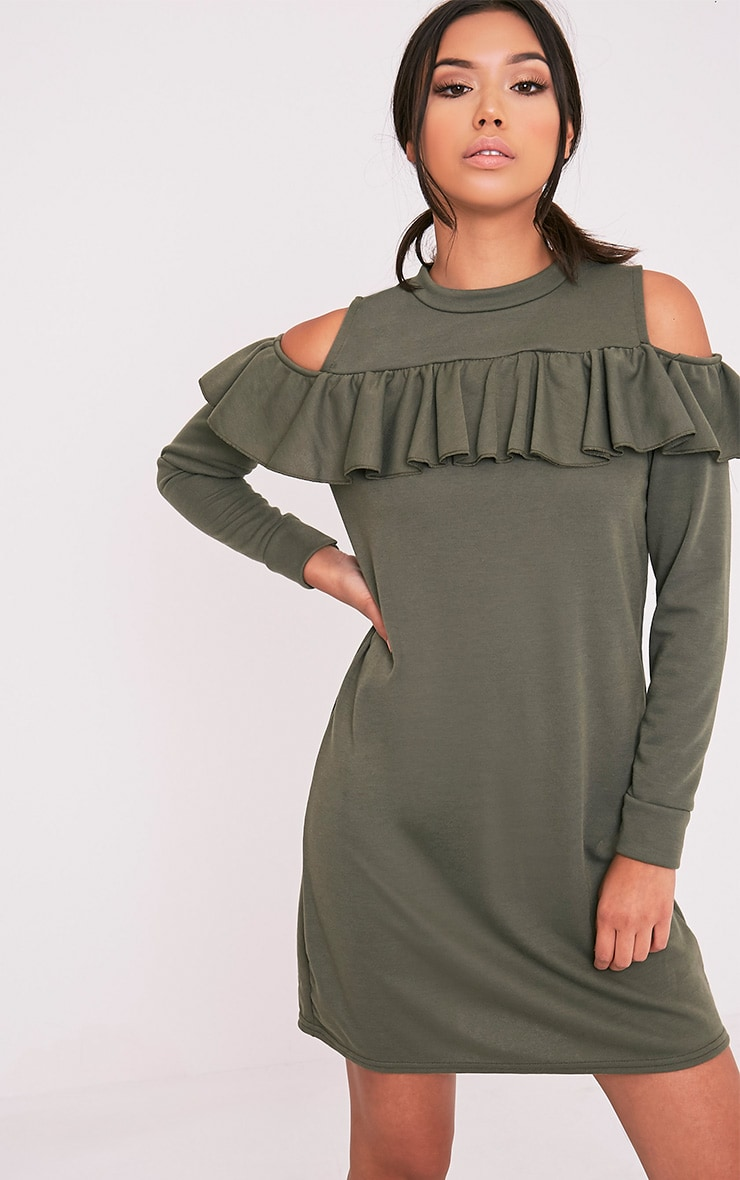 Bridy Khaki Cold Shoulder Sweater Dress 1